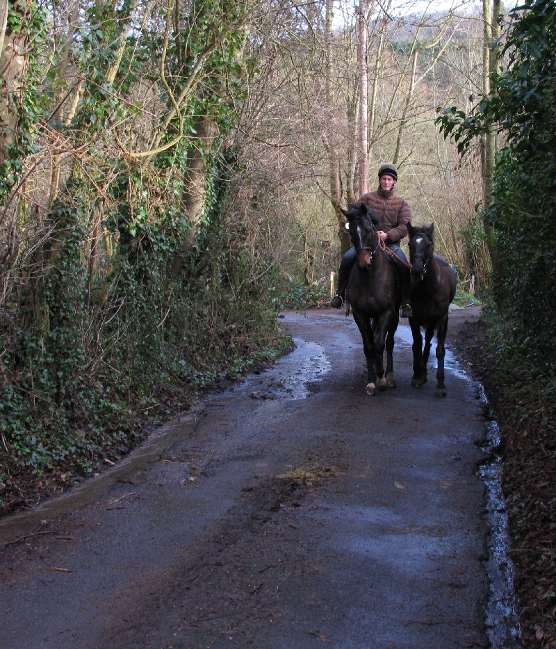 Rider with two horses in Rosemary lane Sharpstone near Freshford Mill January 2007