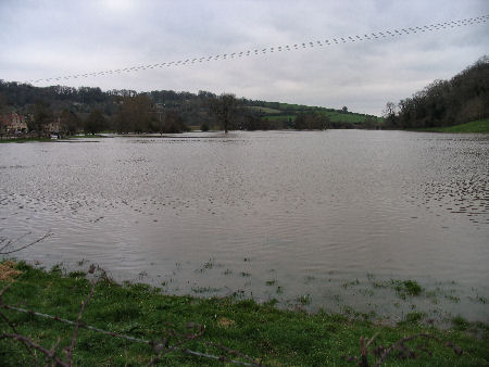 A view across the flood plain by Freshford bridge