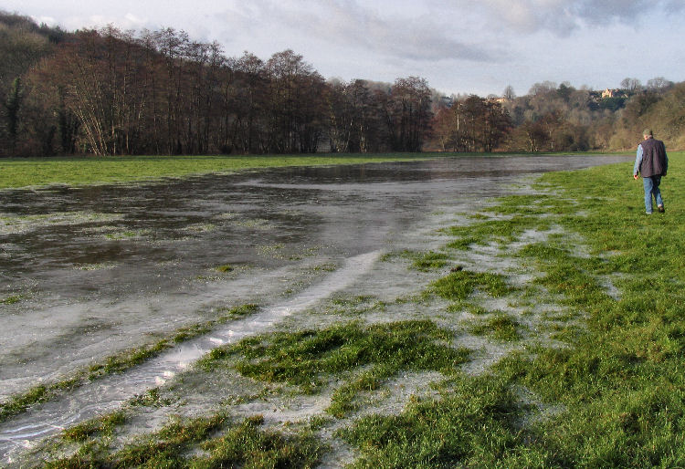 Flooded field turned to ice at Freshford Mill Somerset