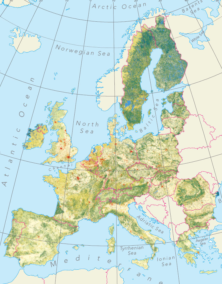 European Environment Agency Map of Dominant Landscapes Including Natural and Strongly Artificial